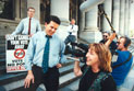 Political candidate Nick Xenophon with colleagues and Director/Cinematographer Catherine Marciniak on the steps of the South Australian Parliament building.