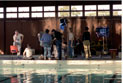 Director/Writer Jane Campion (third from right), with cast and crew. DOP Laurie McInnes (fifth from right). Russell Newman as swim coach (far left), swimming pool set.