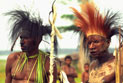 Papua New Guinean men in traditional dress.