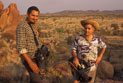 L- R: Sound recordist David Tranter and Cameraman/Director David Batty in the outback.