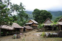 Traditional village with houses made of coconut leaves and woven bamboo, Weather Coast.